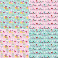 roze en blauwe verjaardagspatronen met schattige vogels vector