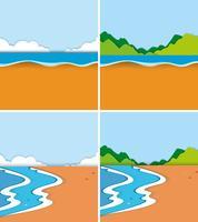 Vier scènes van strand en oceaan