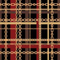 Gouden kettingen tartan naadloze patroon. Vector illustratie
