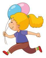 Meisje met twee ballonnen vector