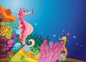 Seahorse liefde vector