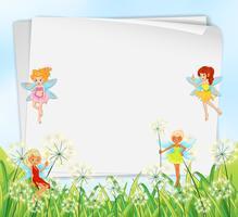 Lege papieren sjablonen met feeën vector