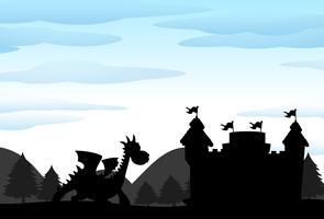 Silhouetscène van kasteel en draak vector