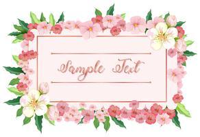 Kaartsjabloon met roze bloemen rond grens