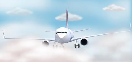 Vliegtuig die in de hemel vliegen vector