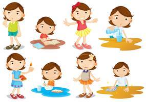De dagelijkse activiteiten van een jong meisje vector