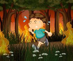 Een jongen loopt weg van bosbranden vector