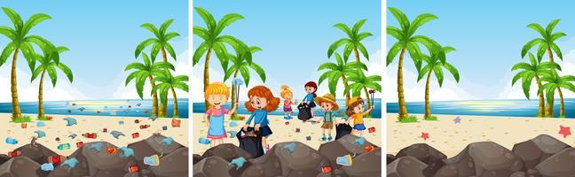 Een set van strandschoonmaak vector