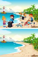 Voor en na het schoonmaken van het strand