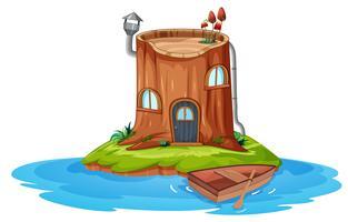 Een houten huis op een klein eiland