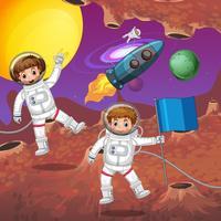 Astronauten vliegen in de ruimte
