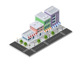 District van de stadsstraat huizen Isometrisch vector