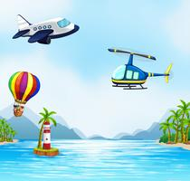 Luchtvervoer over de oceaan vector