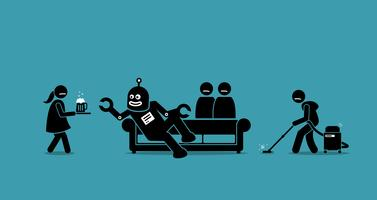Mens is de dienaar van de robot geworden. vector