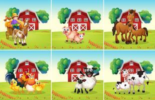 Zes scènes met dieren op de boerderij vector