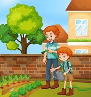 Vader en zoon tuinieren vector