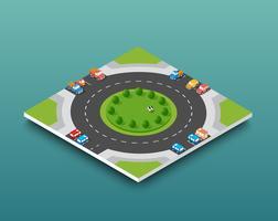 Isometrisch de snelwegverkeer van de stad op de straatweg