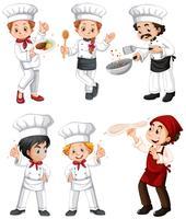 Zes verschillende chef-kok en bakkers vector