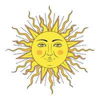 Gekleurde zon met menselijk gezichtssymbool. Vector illustratie.