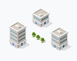 District van de stadsstraat huizen Isometrisch