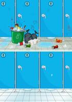 Vuile en schone badkamerscène