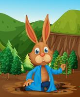 Een konijn dat een gat leeft