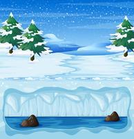 Een sneeuw winterlandschap en ondergronds