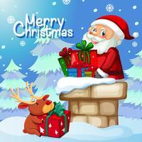 Santa bezorg geschenk door schoorsteen
