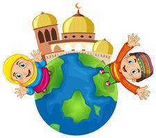 Moslimkinderen bij moskee vector