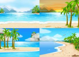 Vier scènes van oceaan bij dagtijd vector