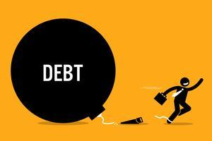 Mens die van schuld vrijmaakt door de ketting met een zaag af te snijden. vector