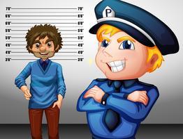 Politieagent in uniform en crimineel vector