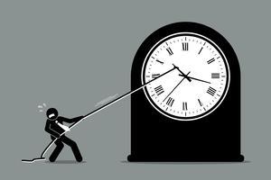 Zakenman die de klok van het bewegen probeert tegen te houden.