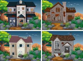 Vier scènes met verwoeste en spookhuizen