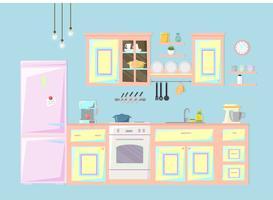Keuken interieur. Vector illustratie.