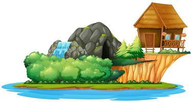 Scène met huisje op het eiland