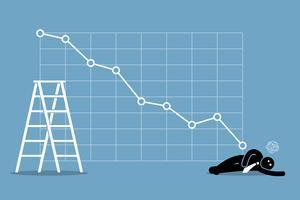 Zakenman flauwgevallen op de vloer als de aandelenmarkt slecht valt. vector