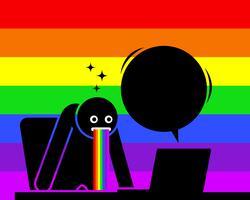 De mens is verbaasd en kotst regenboogs speeksel door de inhoud die hij op zijn computerscherm ziet.