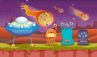 Drie aliens en UFO op planeet