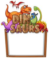 Grensmalplaatje met veel dinosaurussen