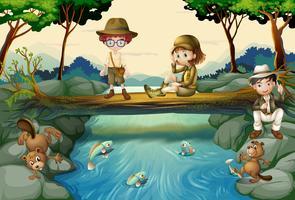 Scène met kinderen bij rivier vector