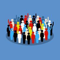 Mensen in de menigte die hand opsteken om steun te tonen en te stemmen. vector