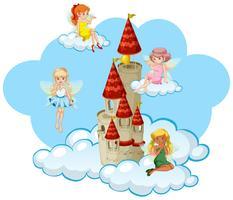 Veel feeën vliegen rond de toren