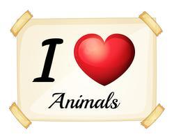 ik hou van dieren vector