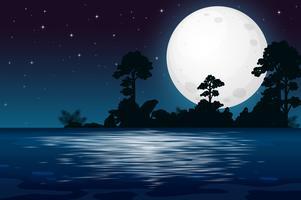 Een volle maan nacht aan het meer vector