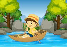 Jongensroeiboot in de rivier vector