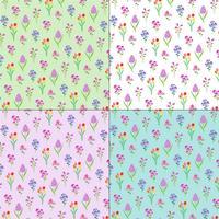 lente bloemenpatronen op pastel achtergronden vector