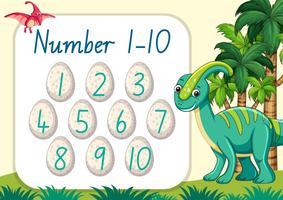 Tel nummer dinosaurus thema vector