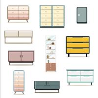 Platte ontwerpkasten meubels decoratie set vector