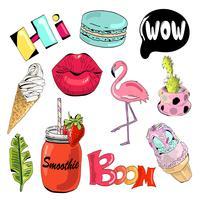 Verzameling van leuke en leuke zomer stickers.